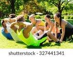 fitness  sport  friendship and... | Shutterstock . vector #327441341