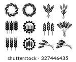 black cereal icons on white... | Shutterstock .eps vector #327446435