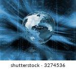 3d wireframe globe on binary... | Shutterstock . vector #3274536