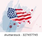 usa flag shaped as map in water ... | Shutterstock .eps vector #327457745