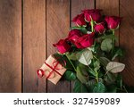 Bouquet Of Red Roses On A Dark...