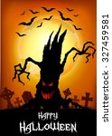 halloween background with tree... | Shutterstock .eps vector #327459581