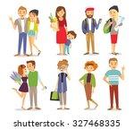 men  women  couples  mom with... | Shutterstock .eps vector #327468335