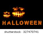 halloween pumpkin with scary... | Shutterstock . vector #327470741