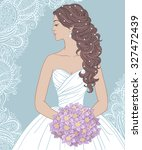 bride with bouquet in profile ... | Shutterstock .eps vector #327472439
