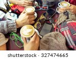 hands holding cappuccino cup... | Shutterstock . vector #327474665