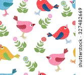 seamless pattern with cute bird. | Shutterstock .eps vector #327482669