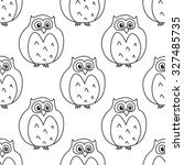 retro stylized owls seamless... | Shutterstock .eps vector #327485735