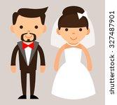 cartoon bride and groom   Shutterstock .eps vector #327487901