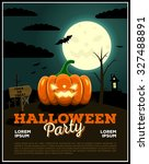 halloween party poster... | Shutterstock . vector #327488891