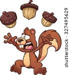 scared cartoon squirrel. vector ... | Shutterstock .eps vector #327495629