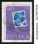 poland   circa 1960  stamp... | Shutterstock . vector #327497429