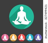 yoga asana icon flat web sign... | Shutterstock .eps vector #327499421
