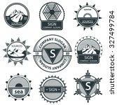 set emblems theme of natural... | Shutterstock .eps vector #327499784