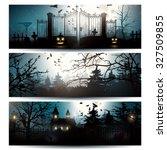 Vector Set Of Three Halloween...