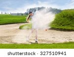 girl playing golf and hitting... | Shutterstock . vector #327510941