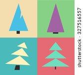 christmas tree set. cartoon... | Shutterstock .eps vector #327516557