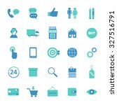 set of blue flat icons for... | Shutterstock .eps vector #327516791