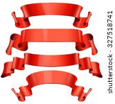 red glossy ribbons on a white... | Shutterstock . vector #327518741