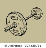 illustration of barbell. sports ... | Shutterstock .eps vector #327525791