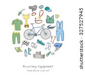 bicycle equipment hand drawn... | Shutterstock .eps vector #327527945