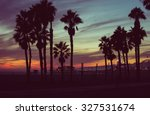 sunset colors with palms... | Shutterstock . vector #327531674