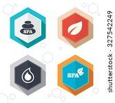 hexagon buttons. spa stones... | Shutterstock .eps vector #327542249