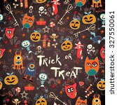 seamless trick or treat pattern | Shutterstock .eps vector #327550061