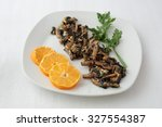 dish of fried mushrooms with... | Shutterstock . vector #327554387