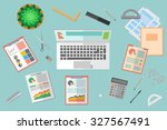 desktop vector business office... | Shutterstock .eps vector #327567491