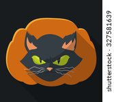 mad cat face on black... | Shutterstock .eps vector #327581639