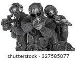 studio shot of swat police... | Shutterstock . vector #327585077