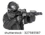 studio shot of swat police... | Shutterstock . vector #327585587