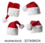 set of santa hats   isolated on ... | Shutterstock . vector #327608024
