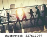 back lit people walking mall... | Shutterstock . vector #327611099