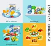 healthy food design concept set ... | Shutterstock . vector #327618275
