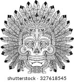 black and white indian skull... | Shutterstock .eps vector #327618545