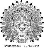 black and white indian skull... | Shutterstock .eps vector #327618545