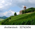 Ancient castle on the top of a vineyard hill - stock photo