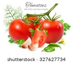 red ripe tomatoes with herbs... | Shutterstock .eps vector #327627734