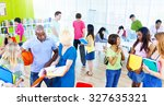 college students analysing... | Shutterstock . vector #327635321