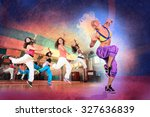 young women at aerobics or... | Shutterstock . vector #327636839