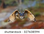 Stock photo eagle owl is flying to us 327638594