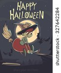 halloween background with cute... | Shutterstock .eps vector #327642284