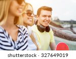 three young happy people... | Shutterstock . vector #327649019