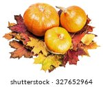 three ripe pumpkins in autumn... | Shutterstock . vector #327652964