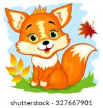 cute cartoon fox sitting in the ... | Shutterstock .eps vector #327667901