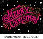 merry christmas retro poster... | Shutterstock .eps vector #327679037