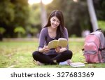 asian woman college student on...   Shutterstock . vector #327683369