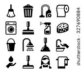 cleaning icons set on white... | Shutterstock .eps vector #327690884